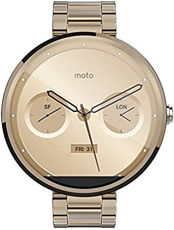 Motorola Mobility Moto 360 Androidwear Smartwatch for Android Devices 4.3 or Higher - Champagne Gold Metal - 18mm