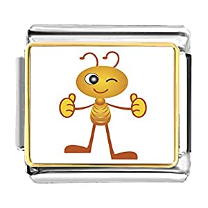 Chicforest Gold Plated Happy Lovely Ant Bracelet Link Photo Italian Charms