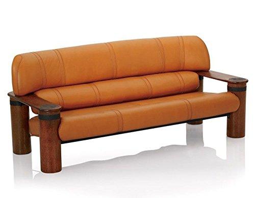 Sofa soft Italian tan leather hand made polished exotic wood metal inserts