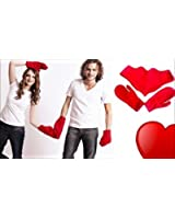 Lovers Couples Red Heart Shaped Gloves Mitten Gift Present For Christmas