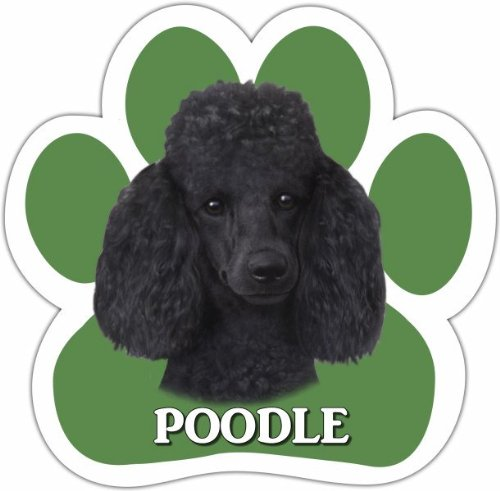 Poodle, Black Car Magnet With Unique Paw Shaped Design Measures 5.2 by 5.2 Inches Covered In UV Gloss For Weather Protection]()