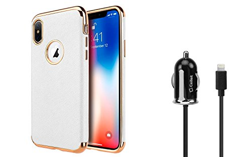 Wt White 4 Trims (Apple iPhone X Case Bundle: Scratch Resistant [Saffiano Faux Textured Leather] Slim TPU Case - [White], Ultra Compact [Apple MFI Certified] 12W Lightning Car Charger (4 Feet) and Atom LED)