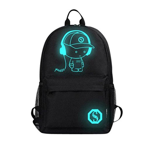 Unisex Music Boy Noctilucent Cartoon School Bags Student Backpack (M, Black) by Napoo-Bag