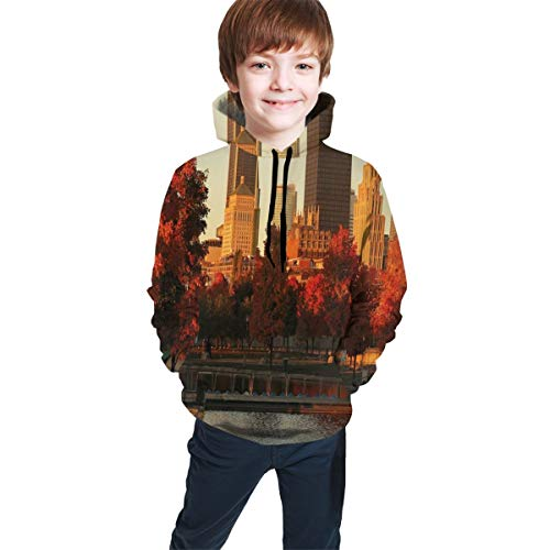 Teen Hooded Sweatshirts,Old Port of Montreal Early in The Morning Scenic Autumn Trees Buildings Canada L (Montreal Bedding)
