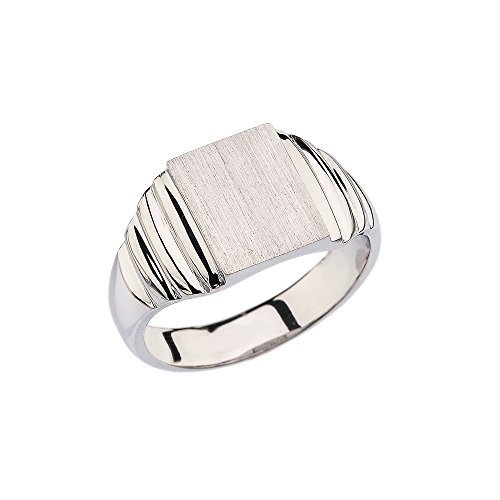Bold 925 Sterling Silver Engravable Rectangular Frame Face Signet Ring for Men (Size - Men Rectangular Face