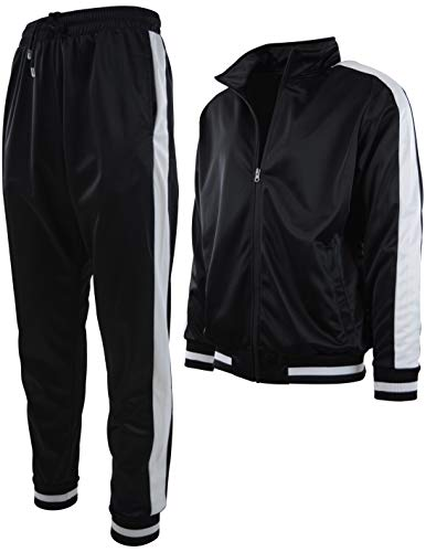 Mens Athletic 2 Piece Tracksuit Set (M, 877-Black)