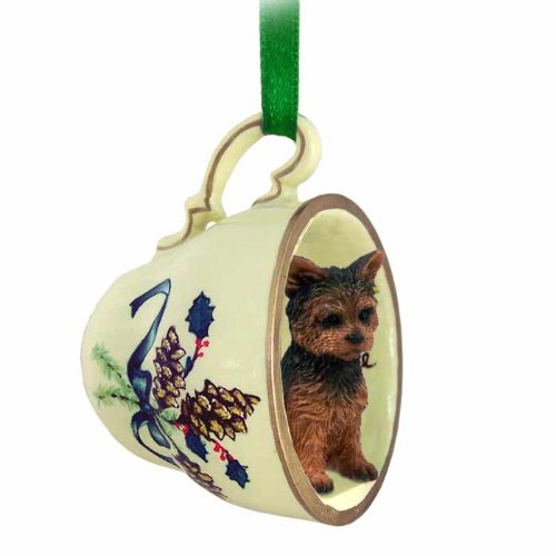 Yorkshire Terrier Puppycut Dog Teacup Green Holiday Ornament (Pin Min Akc)