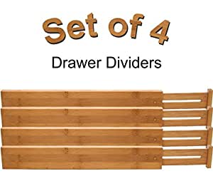 """Lipper International Bamboo Kitchen Drawer Dividers, - Adjust From 22"""" to 17 ⅜"""""""