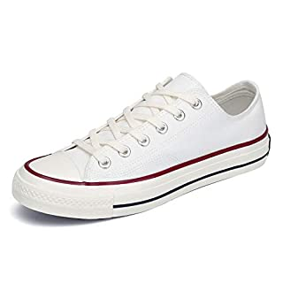 Women's Classic Low Top Canvas Shoes Casual Slip On Sneakers Mens Fashion Tennis Walking Flats White