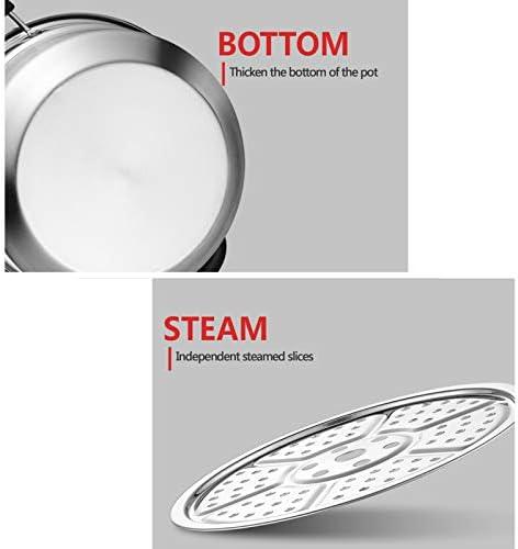 Cuiseur vapeur en acier inoxydable pour aliments - Ustensile de cuisine multifonction avec couvercle - Pour la cuisine