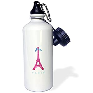 3dRose wb_112907_1 Hot Pink Eiffel Tower From Paris with Girly Blue Ribbon Bow-White Stylish Parisian France Souvenir Sports Water Bottle, 21 oz, White