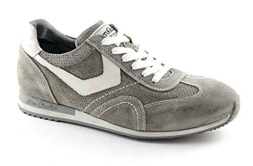 Nero Giardini 4042 Sasso Scarpe Uomo Sneaker Sportive Camoscio Lacci Grigio