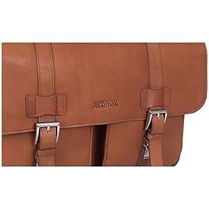 Kenneth Cole Reaction Colombian Leather Dual Compartment Flapover 15″ Laptop Dowelrod Business Portfolio, Cognac