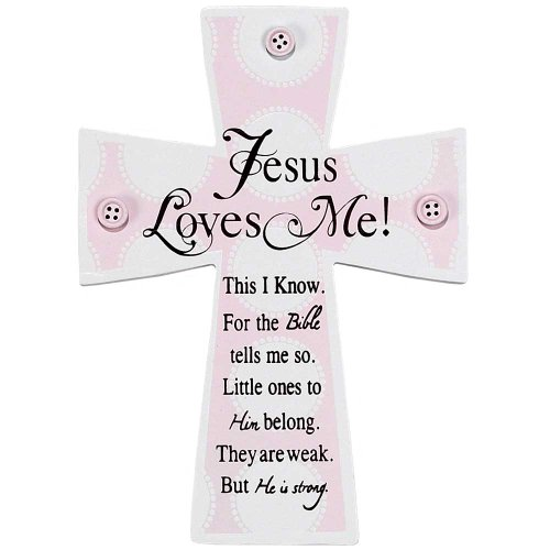 Dicksons Jesus Loves Me Wall Cross, Pink Buttons (Discontinued by - Jesus Little Cross Lamb