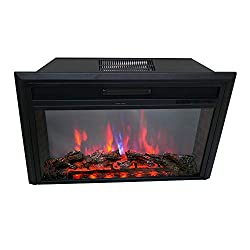 FLAME&SHADE Electric Fireplace Insert Freestanding or Recessed Embedded Stove Heater with Remote and Thermostat, 750/1500w, Black from FLAME&SHADE