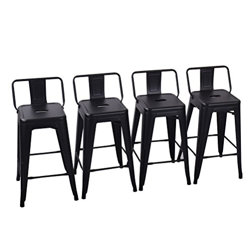 Cheap Yongchuang Metal Counter Height Bar Stool for Indoor-Outdoor(Pack of 4) Matte Black Low Back, 26″