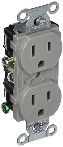 Hubbell CR15GRY Duplex Receptacle, Common Ground, 15 amp, 125V, 5-15 R, Gray (Pack of ()