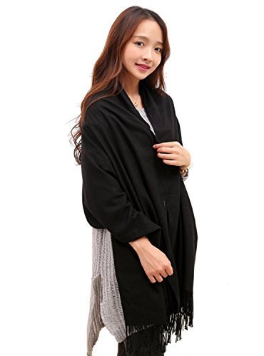 Anboor Super Soft Cashmere Blanket Scarf with Tassel Solid Color Super Warm Shawl for Women, Black