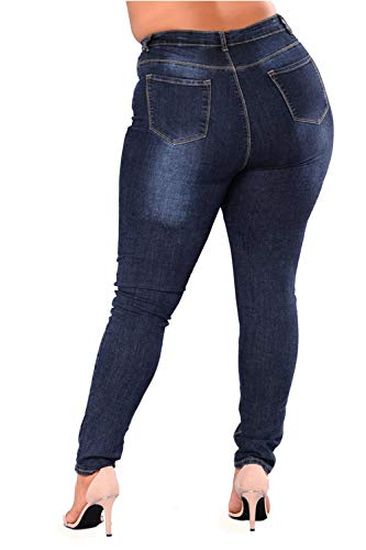 Jeans Alta E Scurocolor Pantaloncini Vita Donne Yacun Denim Attillati Blu Dimensioni ATqg4w