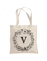 Cute Initial V Floral Gift: Liberty Bags Canvas Bargain Tote Bag