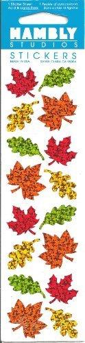 Mini Autumn Leaves Sparkle Scrapbook Stickers (P7575)