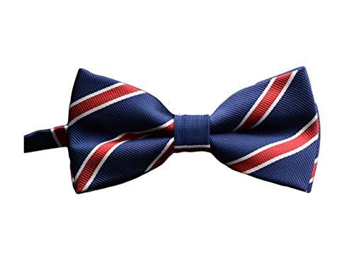 (BESMODZ Men's Navy Blue Red Striped Pretied Silk Bow Ties Formal Business Bowtie)