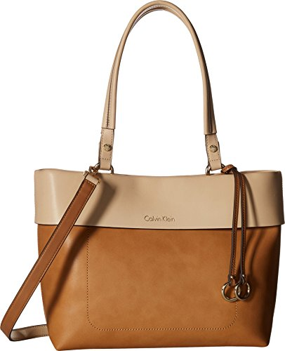 Calvin Klein Patty Faux Leather East/West Tote, Cashew