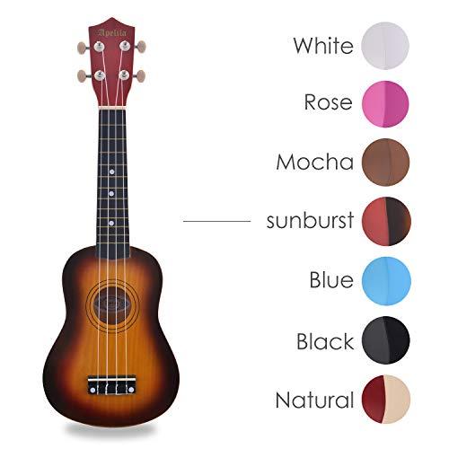 Apelila 21 Inch Soprano Ukulele Acoustic Mini Guitar Musical Instrument,Kid, Starter, Amateur For Beginner, (Ukulele Only No Accessories Sunburst) from Apelila