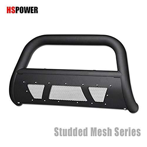 (HS Power Matte Black Bull Bar for 2004-2015 Nissan Titan/Nissan Armada   Studded Laser Mesh HD Steel Brush Push Front Bumper Grill Guard)