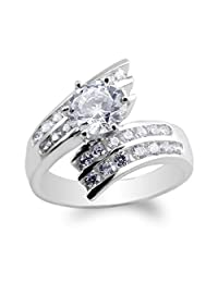 JamesJenny Womens White Gold Plated Twisted Double Lined Ring Size 4-10