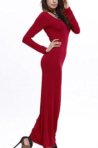 Damen Lange Ärmel Bodycon Lange Maxi Stift Partei Kleid Red J2kpYj ...