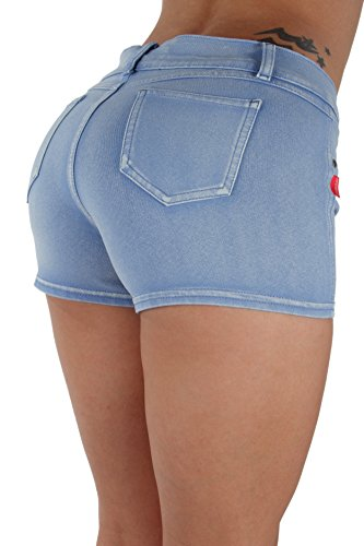Basic Booty Shorts Premium Stretch French Terry Moleton with Gentle Butt Lifting Stitching in Washed Light Blue Size XS