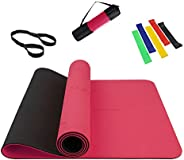 Yoga Mat with Alignment Lines Eco Friendly Non Slip Fitness Exercise High Density Yoga Mat with Carrying Strap