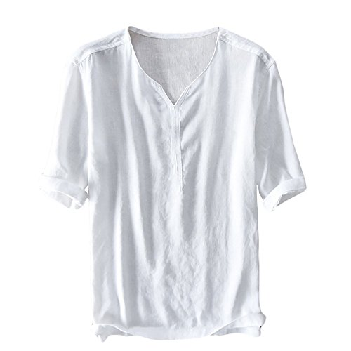 (GAMISOTE Mens Linen and Cotton V Neck Henley Short Sleeve Casual T Shirt Tops)
