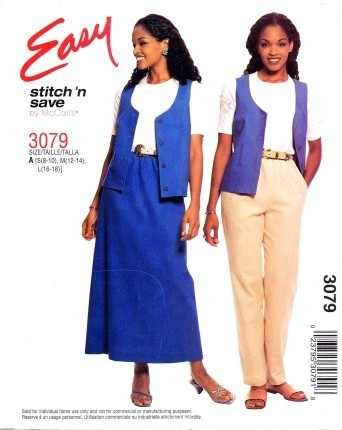 (EASY STITCH 'N SAVE/McCALL'S 3079 Misses' Unlined VEST, PULL-ON PANTS & SKIRT Size A: 8-18)