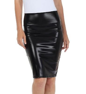 Sakkas Women's Shiny Metallic Liquid High Waist Pencil Skirt