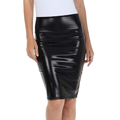 Sakkas Women's Shiny Metallic Liquid High Waist Pencil Skirt at Women's Clothing store: Stretch Pencil Skirt
