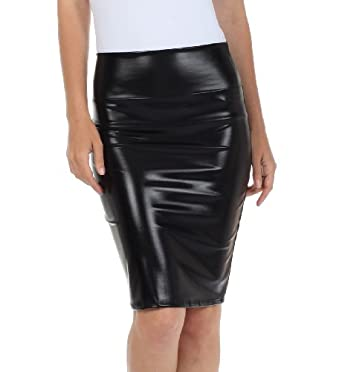 Sakkas Women's Shiny Metallic Liquid High Waist Pencil Skirt at ...