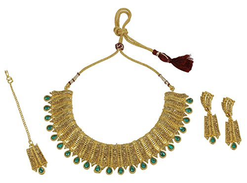 MUCHMORE Indian Fabulous Traditional Gold Tone Necklace Earrings With Maag Tikka Jewelry for (Traditional Indian Gold Jewelry)