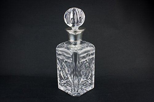 sterling-silver-square-retro-whisky-decanter-carafe-crosshatch-bottle-sg-ltd-cut-glass-crystal-engli