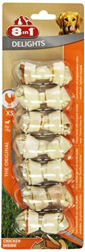 8in1 Delights Chicken Kauknochen Größe XS (gesunder Kausnack für sehr kleinere Hunde von 2 bis 12 kg, hochwertiges Hähnchenfleisch eingewickelt in Rinderhaut), 7 Stück (85 g)