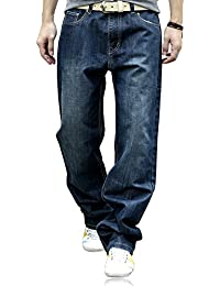 Men's Fashion Big Soft Loose Straight-Leg Jeans 36 Dark Blue