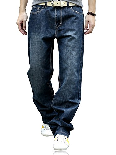YOYEAH Men's Fashion Big Soft Loose Straight-Leg Jeans 31 Dark Blue (Loose Blue Jeans Straight)