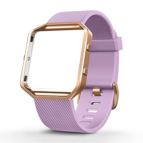 - UMTELE For Fitbit Blaze Bands, Sport Silicone Replacement Strap with Rose Gold Frame for Fitbit Blaze Smart Fitness Watch Lavender