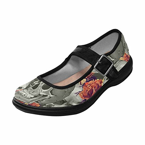 Shoes Walking Flats Comfort 14 Womens Multi Mary Casual Jane InterestPrint YwUR0PIx