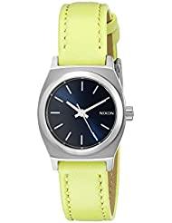 Nixon Womens A5092080 Small Time-Teller Leather Analog Display Quartz Watch