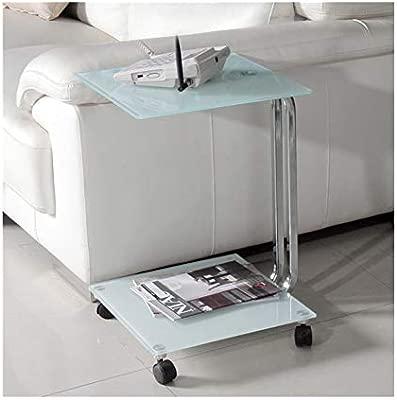 OFCASA - Mesa auxiliar rectangular de cristal negro para ordenador ...
