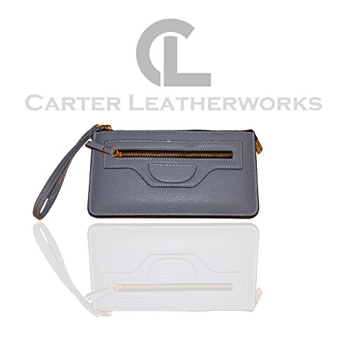 Carter Leatherworks Rodeo Womens PU Vegan Leather Wristlet Wallet Clutch Purse Fits Any Smartphone (Light Blue) by Carter Leatherworks