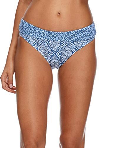 Skye Women's Mid Waist Full Coverage Bikini Bottom Swimsuit, Semeru Denim Print, Medium