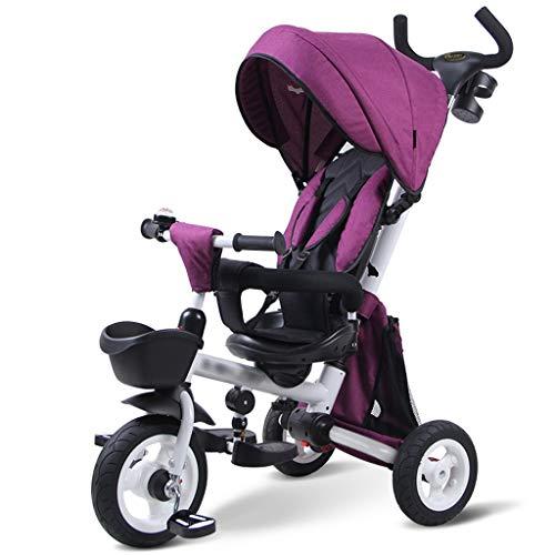 Qi Peng Bicicleta de tres ruedas para niños Bebé plegable 1-3-5 años de edad Carretilla autopropulsada Carrito ligero...